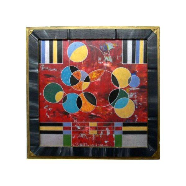 Kreiskomposition auf Rot